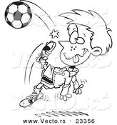 Cartoon Vector of Cartoon Boy Doing a Soccer Kick - Coloring Page Outline by Toonaday