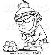 Cartoon Vector of Cartoon Boy Gathering Snowballs for a Fight - Coloring Page Outline by Ron Leishman