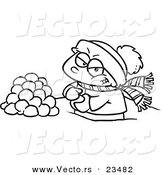 Cartoon Vector of Cartoon Boy Making Snowballs for a Fight - Coloring Page Outline by Ron Leishman