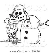 Cartoon Vector of Cartoon Boy Putting a Head on a Snowman - Coloring Page Outline by Ron Leishman