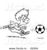 Cartoon Vector of Cartoon Boy Running After a Soccer Ball - Coloring Page Outline by Toonaday