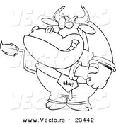 Cartoon Vector of Cartoon Business Bull Rolling up His Sleeves - Coloring Page Outline by Toonaday