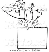 Cartoon Vector of Cartoon Businessman Balanced on a Blank Sign - Coloring Page Outline by Toonaday