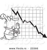 Cartoon Vector of Cartoon Businessman Praying by a Failing Chart - Coloring Page Outline by Toonaday