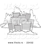 Cartoon Vector of Cartoon City Skyline Against Clouds - Coloring Page Outline by Toonaday