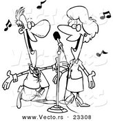 Cartoon Vector of Cartoon Couple Singing - Coloring Page Outline by Toonaday