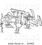 Cartoon Vector of Cartoon Crashed Skiers - Coloring Page Outline by Toonaday