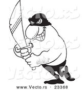 Cartoon Vector of Cartoon Evil Man Holding a Sword - Coloring Page Outline by Ron Leishman