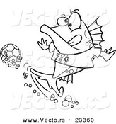 Cartoon Vector of Cartoon Fish Playing Soccer - Coloring Page Outline by Toonaday