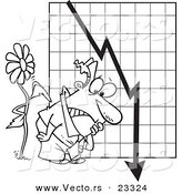 Cartoon Vector of Cartoon Flower Tapping on a Man by a Failing Chart - Coloring Page Outline by Toonaday