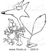 Cartoon Vector of Cartoon Fox Stealing a Chicken - Coloring Page Outline by Ron Leishman