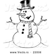 Cartoon Vector of Cartoon Friendly Snowman - Coloring Page Outline by Toonaday