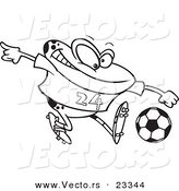 Cartoon Vector of Cartoon Frog Playing Soccer - Coloring Page Outline by Toonaday