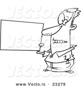 Cartoon Vector of Cartoon Guy Holding a Blank Sign - Coloring Page Outline by Toonaday