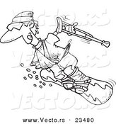 Cartoon Vector of Cartoon Injured Snowboarder - Coloring Page Outline by Ron Leishman
