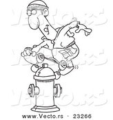 Cartoon Vector of Cartoon Man Skateboarding on a Hydrant - Coloring Page Outline by Toonaday