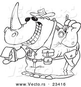 Cartoon Vector of Cartoon Police Rhino Issuing a Ticket - Coloring Page Outline by Toonaday