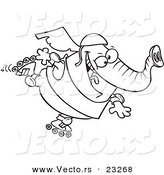 Cartoon Vector of Cartoon Roller Blading Elephant - Coloring Page Outline by Toonaday