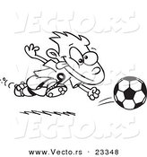 Cartoon Vector of Cartoon Running Soccer Boy - Coloring Page Outline by Toonaday