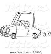 Cartoon Vector of Cartoon Short Woman Driving - Coloring Page Outline by Toonaday