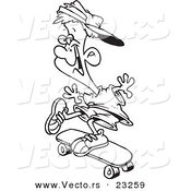 Cartoon Vector of Cartoon Skater Boy - Coloring Page Outline by Toonaday