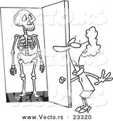 Cartoon Vector of Cartoon Skeleton in a Woman's Closet - Coloring Page Outline by Toonaday