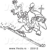 Cartoon Vector of Cartoon Skier Guy - Coloring Page Outline by Toonaday