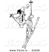 Cartoon Vector of Cartoon Skier Man - Coloring Page Outline by Toonaday