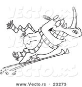 Cartoon Vector of Cartoon Skiing Rhino - Coloring Page Outline by Toonaday