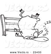 Cartoon Vector of Cartoon Sleepy Sheep by a Fence - Coloring Page Outline by Toonaday