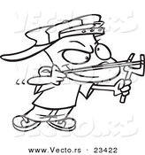 Cartoon Vector of Cartoon Slingshot Boy - Coloring Page Outline by Ron Leishman