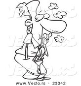 Cartoon Vector of Cartoon Sneaky Businessman Smoking - Coloring Page Outline by Toonaday