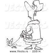 Cartoon Vector of Cartoon Snotty Woman Walking Her Tiny Dog - Coloring Page Outline by Ron Leishman