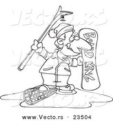 Cartoon Vector of Cartoon Snow Sport Guy - Coloring Page Outline by Toonaday