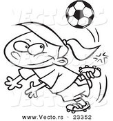 Cartoon Vector of Cartoon Soccer Girl Doing a Kick Trick - Coloring Page Outline by Toonaday