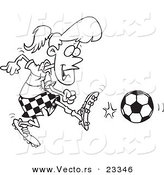Cartoon Vector of Cartoon Soccer Girl Kicking - Coloring Page Outline by Toonaday