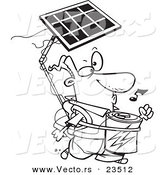 Cartoon Vector of Cartoon Solar Power Guy - Coloring Page Outline by Toonaday