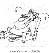 Cartoon Vector of Cartoon Stinky Lazy Man - Coloring Page Outline by Ron Leishman