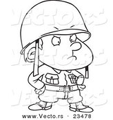 Cartoon Vector of Cartoon Strict Soldier Boy - Coloring Page Outline by Ron Leishman