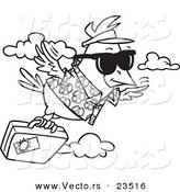 Cartoon Vector of Cartoon Traveling Bird Flying with Luggage - Coloring Page Outline by Ron Leishman