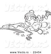 Cartoon Vector of Cartoon Winter Boy Falling off His Sled - Coloring Page Outline by Ron Leishman