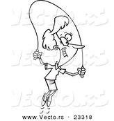 Cartoon Vector of Cartoon Woman Skipping Rope - Coloring Page Outline by Toonaday