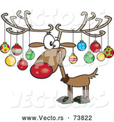 December 10th, 2017: Cartoon Vector of Christmas Reindeer Decorated with Ornaments on Antlers by Toonaday