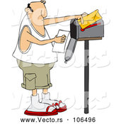 Cartoon Vector of Chubby Caucasian Man Reading a Letter at His Mailbox by Djart