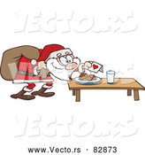 Cartoon Vector of Cookies and Milk for Santa Claus by Gnurf
