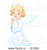 Cartoon Vector of Cute Blond Angel Girl Kneeling in Prayer by Pushkin
