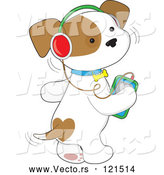 Cartoon Vector of Cute Puppy Dog Wagging His Tail and Listening to Music Through an Mp3 Player by Maria Bell