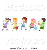Cartoon Vector of Diverse Children Walking in Line with Garden Plants by BNP Design Studio