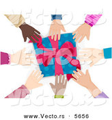 Cartoon Vector of Diverse Group of Hands Reaching for a Present by BNP Design Studio