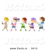 Cartoon Vector of Diverse Kids Carrying Garden Plants While Walking in a Line by BNP Design Studio